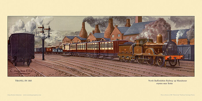 1885 North Staffordshire Rly Manchester express nr Stoke by Cuthbert Hamilton-Ellis
