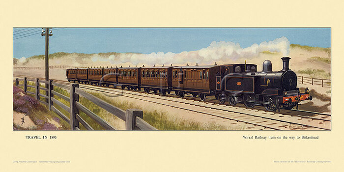1895 Wirral Railway train on the way to Birkenhead by Cuthbert Hamilton-Ellis