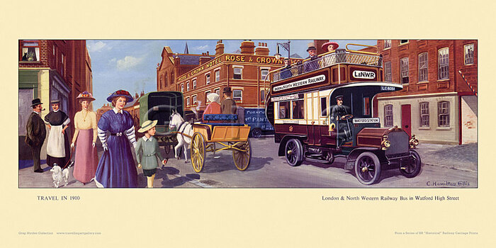 1910 London & North Western Rly bus, Watford High St. by Cuthbert Hamilton-Ellis
