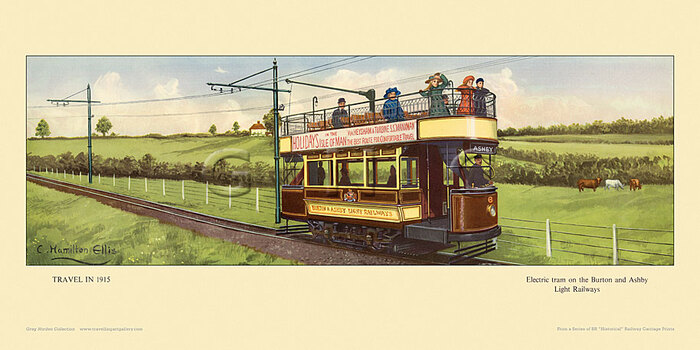 1915 Electric tram on Burton and Ashby Light Railway by Cuthbert Hamilton-Ellis