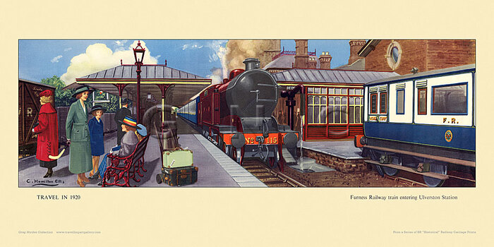 1920 Furness Railway train entering Ulverston station by Cuthbert Hamilton-Ellis