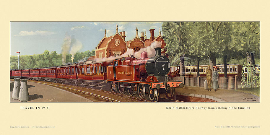1915 North Staffordshire Rly train entering Stone Junction by Cuthbert Hamilton-Ellis