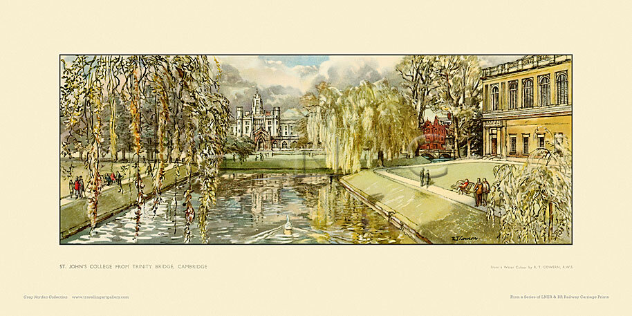 Cambridge, St Johns College from Trinity Bridge by Raymond Teague Cowern