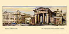 London, Entrance to Euston Station by Claude Buckle