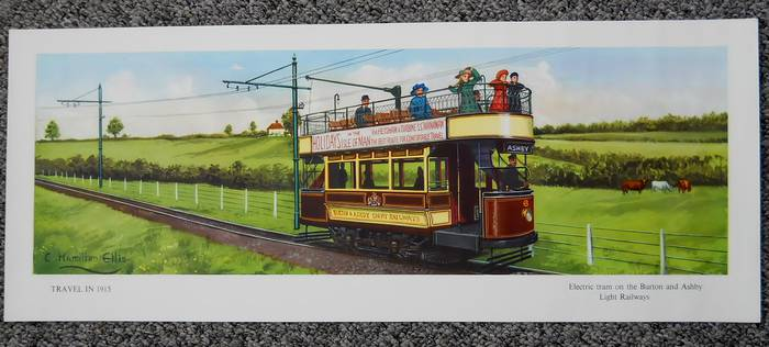 Original Carriage Print TRAVEL IN 1915 TRAM BURTON & ASBY RLY Hamilton Ellis