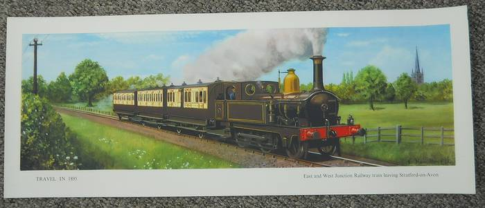 Original Railway Carriage Print TRAVEL IN 1895, EAST & WEST JCT TRAIN STRATFORD