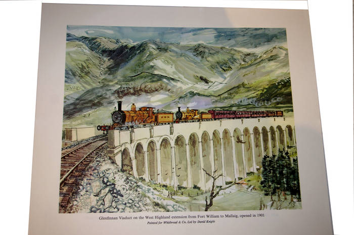 Glenfinnan Viaduct,  West Highland Line, 1901. Whitbread Print. by David Knight.