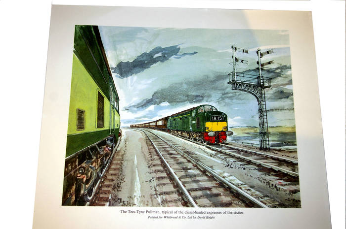 Tees-Tyne Pullman, diesel express 1960s. Orig Whitbread Print by David Knight