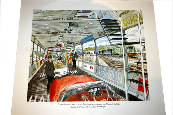 Future Channel Tunnel car ferry train. Orig Whitbread Print by David Knight.