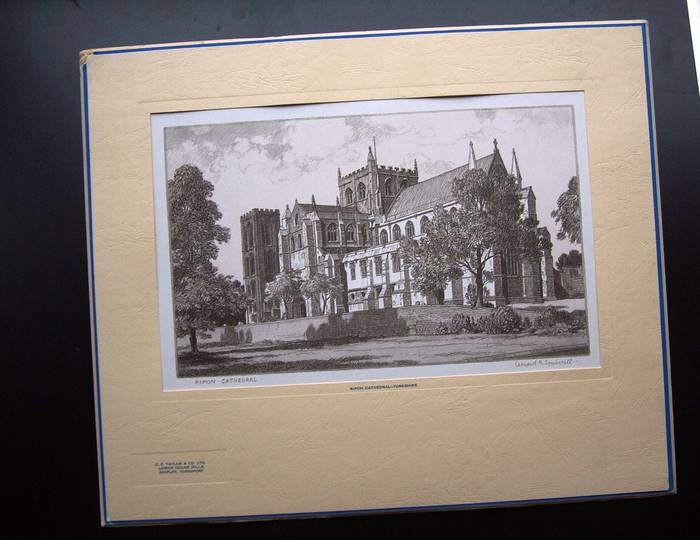 RIPON CATHEDRAL, YORKSHIRE, Original mounted print by Leonard Squirrell