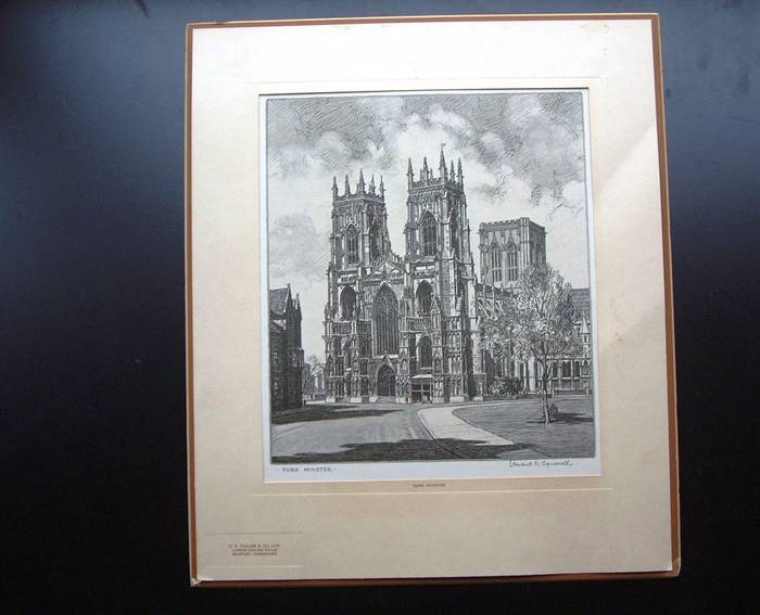 YORK MINSTER, YORKSHIRE, Original mounted print  by Leonard Squirrell