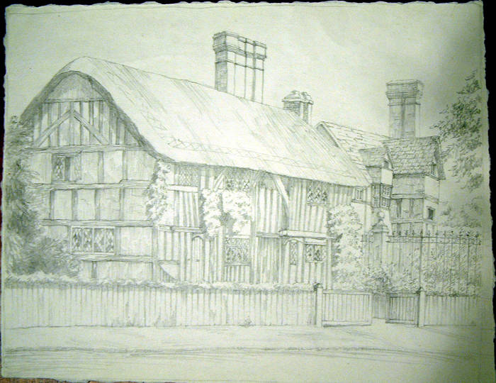 TIMBERED COTTAGE Original fine pencil drawing by R H Eason for illustration