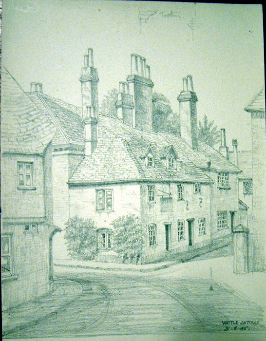 WATTLE COTTAGE. Original fine pencil drawing by R H Eason for illustration 1945