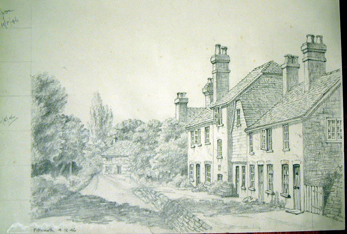 FITTLEWORTH. Original fine pencil drawing by R H Eason for illustration 1946