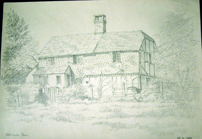 WATERLANDS FARM. Original fine pencil drawing by R H Eason for illustration 1958
