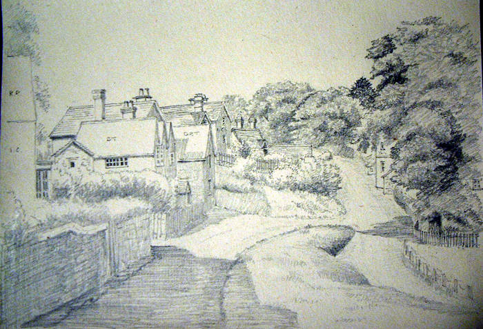 COTTAGES & LANE. Original fine pencil drawing by R H Eason illustration c1948