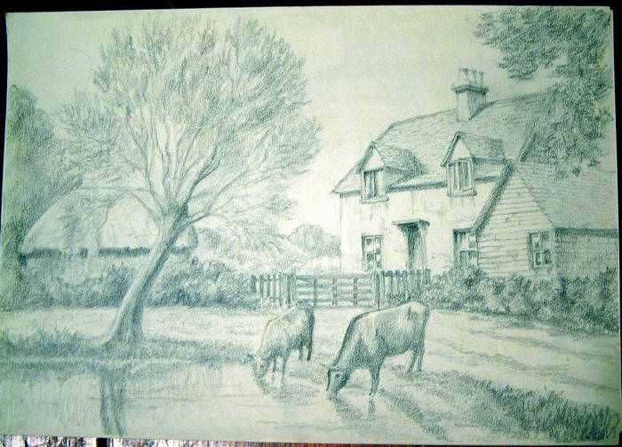 COTTAGES & POND. Original fine pencil drawing by R H Eason illustration Undated