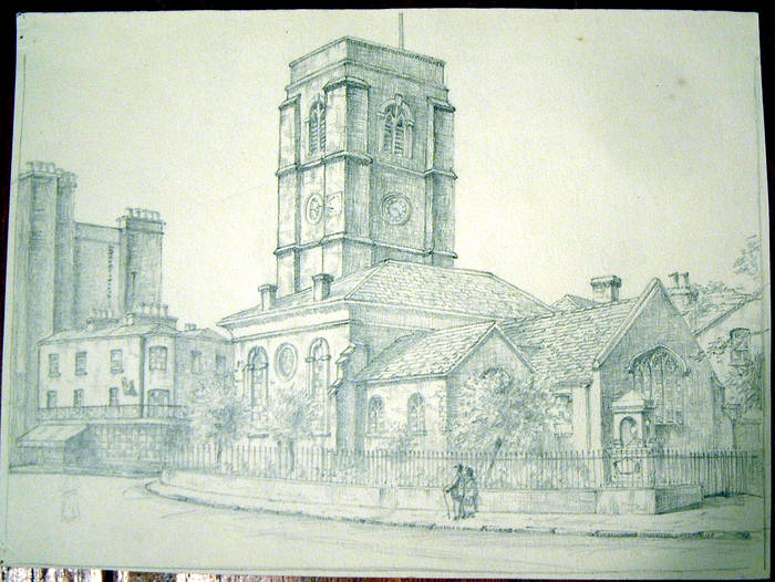 CHURCH (where?). Original fine pencil drawing by R H Eason for illustration