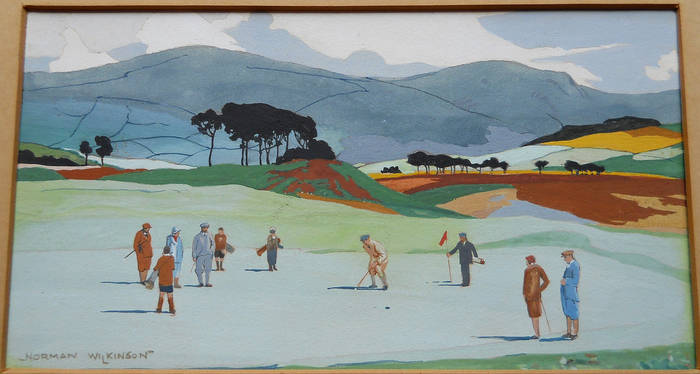 GLENEAGLES, GOLFING ON LMS Original poster artwork. NORMAN WILKINSON R.I.