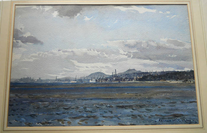DUNDEE FROM ACROSS THE TAY. Watercolour by NORMAN WILKINSON