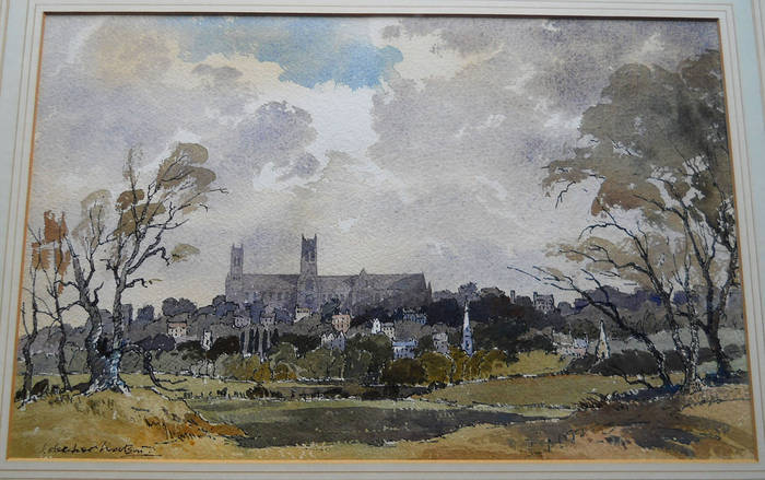 LINCOLN VIEWED FROM THE SOUTH. Watercolour by James Fletcher-Watson
