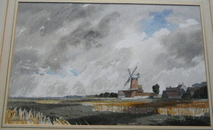 CLEY MILL, NORTH NORFOLK COAST. Watercolour by James Fletcher-Watson