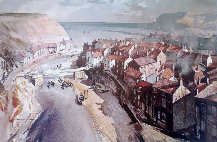 STAITHES, YORKSHIRE by ROWLAND HILDER. Royle Publications Print 1977