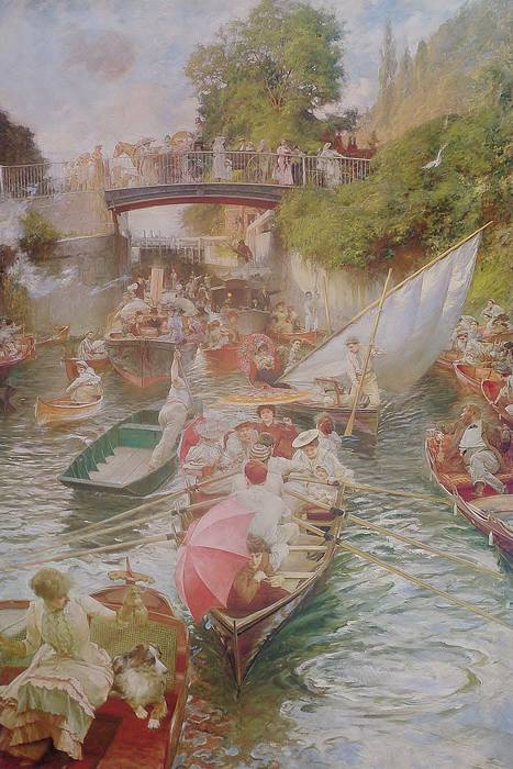 BOULTER'S LOCK, SUNDAY AFTERNOON, 1895 by E J GREGORY. Royle Print
