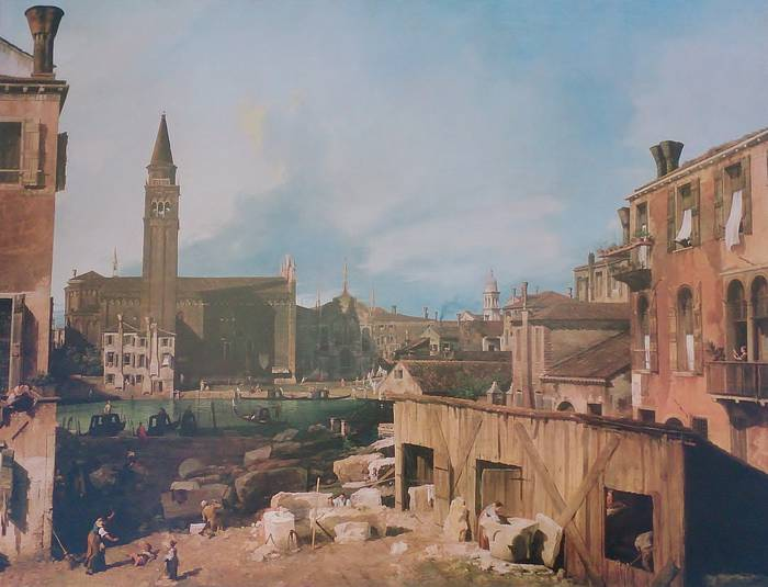 THE STONEMASON'S YARD by CANALETTO. Royle Ltd. Print, 1981