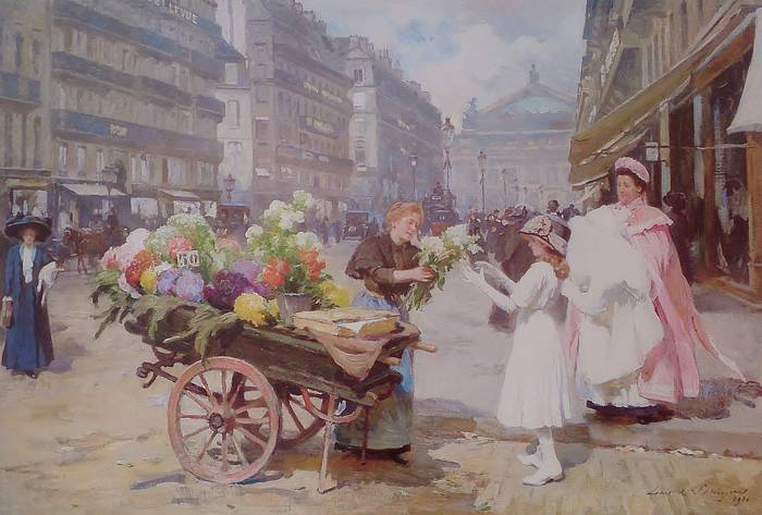 A FLOWER SELLER IN THE AVENUE DE L'OPERA by LOUIS MARIE DE SCHRYVER