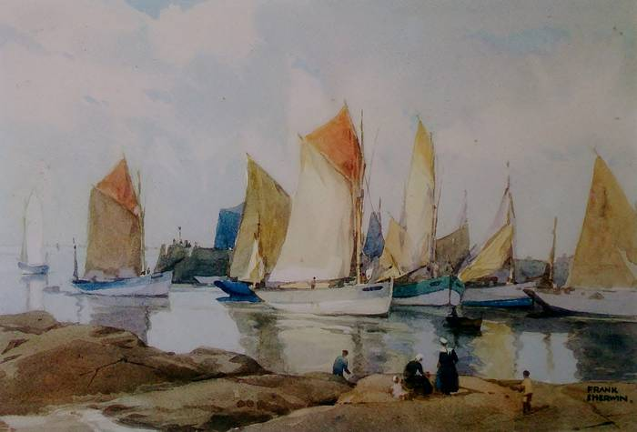 IN HARBOUR by Frank Sherwin. ORIGINAL PRINT ON CARD, WITH TITLED MOUNT