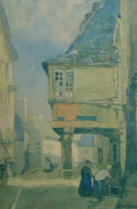 AN OLD HOUSE, DINAN [FRANCE] by FRANK SHERWIN. ORIGINAL MOUNTED PRINT