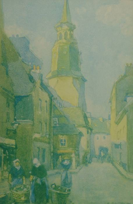 THE VILLAGE STREET, DINAN [FRANCE] by FRANK SHERWIN. ORIGINAL MOUNTED PRINT