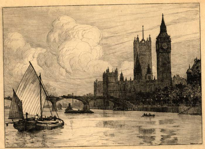 WESTMINSTER BRIDGE & HOUSES OF PARLIAMENT. ORIGINAL ETCHING  by CYRIL H BARRAUD