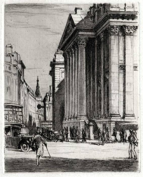BANK OF ENGLAND, LONDON. ORIGINAL ETCHING  by CYRIL H BARRAUD