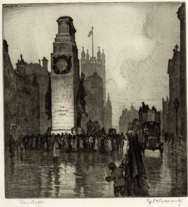 CENOTAPH, HORSE GUARDS PARADE, ORIGINAL ETCHING by CYRIL H BARRAUD