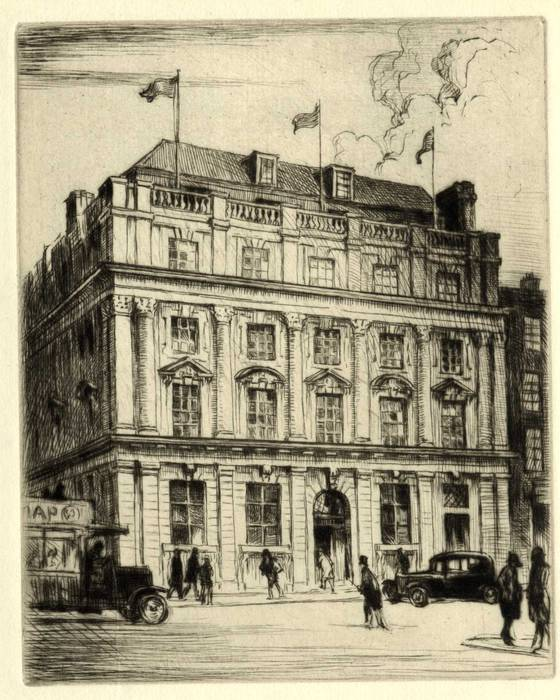 UNIDENTIFIED BUILDING, LONDON. ORIGINAL ETCHING  by CYRIL H BARRAUD