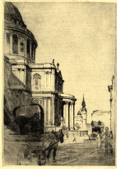 ST PAUL'S CATHEDRAL, LONDON. ORIGINAL ETCHING  by CYRIL H BARRAUD