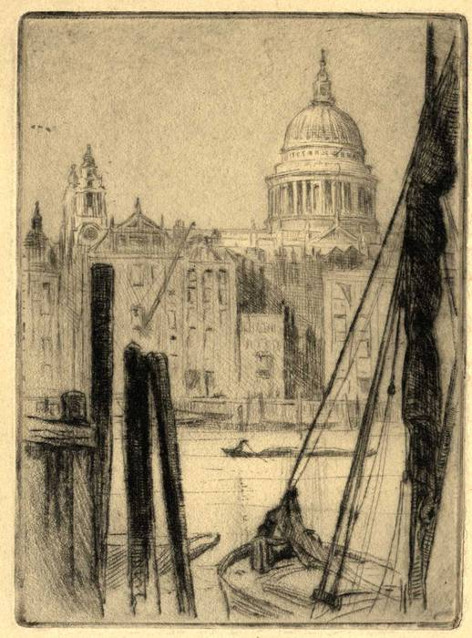 ST PAUL'S CATHEDRAL FROM RIVER THAMES. ORIGINAL ETCHING  by CYRIL H BARRAUD
