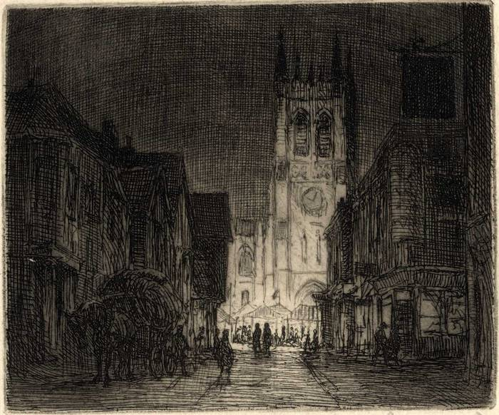 CHRISTMAS MARKET, LONDON. ORIGINAL ETCHING  by CYRIL H BARRAUD