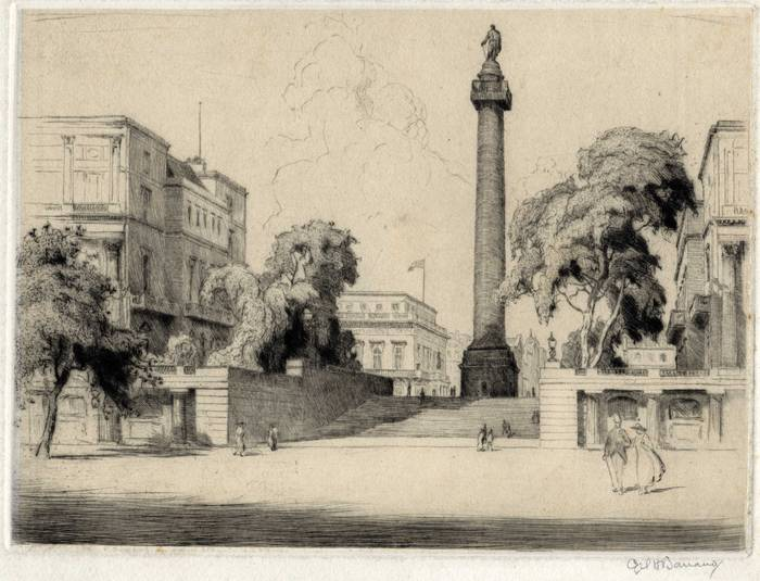 DUKE OF YORK STEPS, THE MALL, LONDON. ORIGINAL ETCHING  by CYRIL H BARRAUD