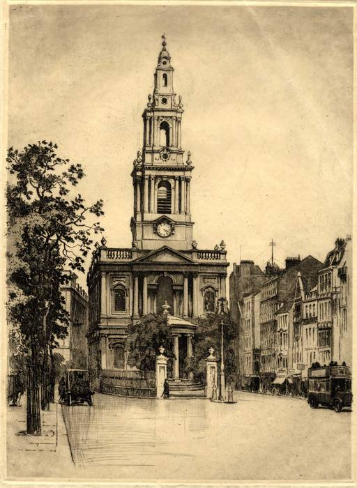 ST MARY LE STRAND CHURCH, LONDON. ORIGINAL ETCHING  by CYRIL H BARRAUD