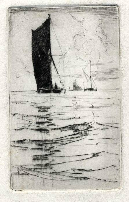 BOATS OFF ERITH. ORIGINAL ETCHING  by CYRIL H BARRAUD