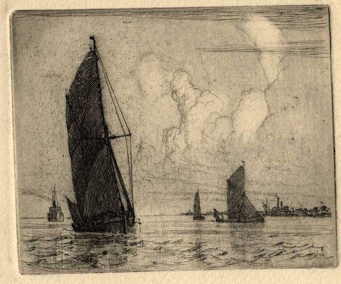 TRAWLERS OFF ERITH, KENT. ORIGINAL ETCHING  by CYRIL H BARRAUD