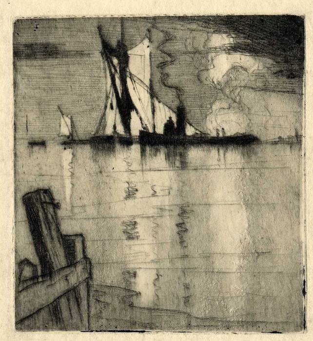 BOATS OFF ERITH KENT. ORIGINAL ETCHING  by CYRIL H BARRAUD