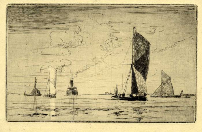 THAMES TRAWLERS OFF ERITH. ORIGINAL ETCHING  by CYRIL H BARRAUD