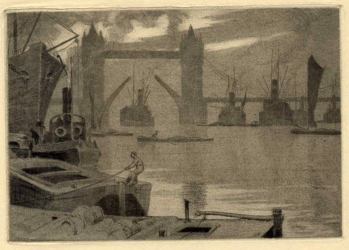 TOWER BRIDGE & POOL OF LONDON. ORIGINAL ETCHING  by CYRIL H BARRAUD