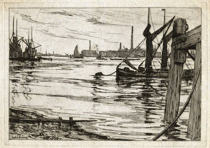THAMES & THE ISLE OF DOGS 1911. ORIGINAL ETCHING by CYRIL H BARRAUD