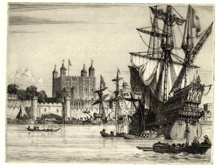 TOWER OF LONDON (16thC)  ORIGINAL ETCHING by CYRIL H BARRAUD