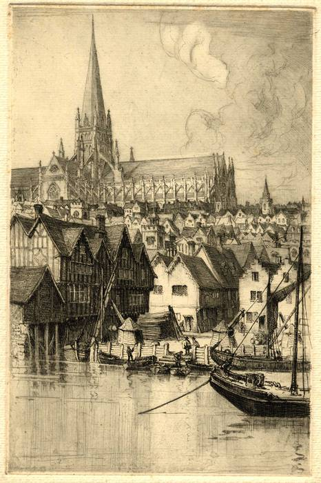 OLD ST PAULS CATHEDRAL & 3 CRANES WHARF. ORIGINAL ETCHING by CYRIL H BARRAUD